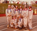 The big day: seated, Werhan, Gibbs  standing LR, M Killam, S Watson (struggling with hat size), F Killam, J Daniels, Kar